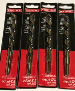 "Craftsman 1/2"" Drill Bits High Speed Steel 3/8"" Reduced Shan"