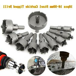 10PC Carbide Tip TCT Hole Saw Cutter Drill Bit Set For Steel
