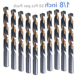 10pcs, 1/8 Inch Drill Bits, Black and Gold Finish, Jobber Dr