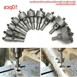 10pcs 16-53mm Carbide Tip Drill Bits Hole Saw Stainless Stee