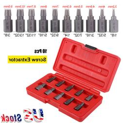 10pcs Screw Extractor Drill Bits Guide Set Broken Damaged Bo