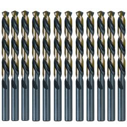 "12PCS 1/4"" Drill Bit Set HSS M2 Black/Gold Steel Twist Drill"