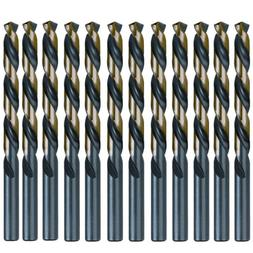 "12PCS 3/16"" Drill Bit Set HSS M2 Black/Gold 3-Flat Twist Dri"