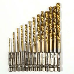 13PCS HSS Cobalt Twist Drill Bits For Hard Metal Stainless S
