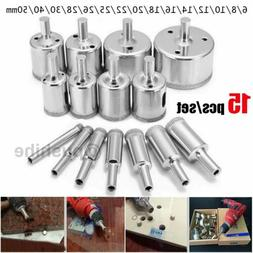 15Pcs/Set Diamond Hole Saw Drill Bits Glass Ceramic Tile Saw