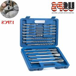 17pcs Rotary Hammer Drill SDS+ Plus Bit Bits Chisel Set Conc