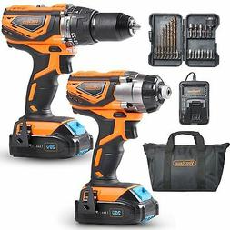VonHaus 20V MAX Cordless Drill Driver Combo Kit with 21pc Dr