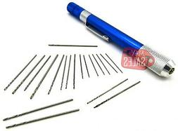 21PC Mini Drill Set Small Aluminum Hand Drill Wire Drills Si