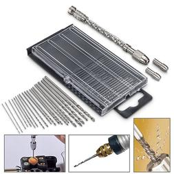 21Pcs HSS Mini Micro Spiral Hand Manual Push Drill Chuck Twi