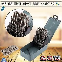 25Pcs 1mm-13mm Twist HSS High Speed Cobalt Steel Kit Metric