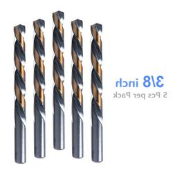 5pcs, 3/8 Inch Drill Bits, Black and Gold Finish, Jobber Dri