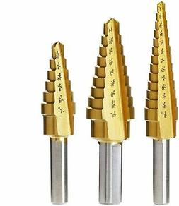 3pc. TITANIUM STEP DRILL BITS VCT HEAVY DUTY WITH AUTO DEBUR