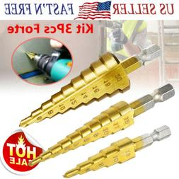 3Pcs Drill Bit Set Steel Titanium Nitride Coated Step Quick
