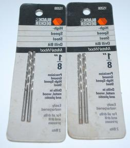 "4 Black & Decker High Speed Steel Drill Bits, 1/8"" for Metal"