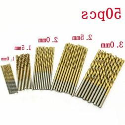 50PCS Micro Round Shank Drill Bits Set Small Precision HSS T