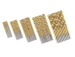 50PCS Titanium Coated HSS Twist Drill Bits For Hard Metal St