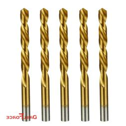 "5PCS 1/2"" Drill Bit Set HSS Titanium Jobber Length Twist Met"