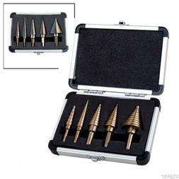 5pc SAE HSS Cobalt Step Drill Bits w/ Aluminum Case