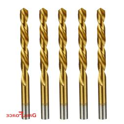 "5PCS 21/64"" Drill Bit Set HSS Titanium Jobber Length Twist M"