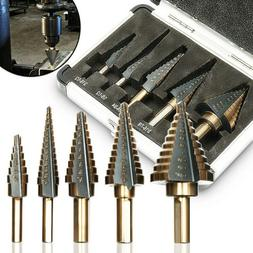 5pcs HSS Cobalt Multiple Hole 50 Sizes Step Drill Bit Set To