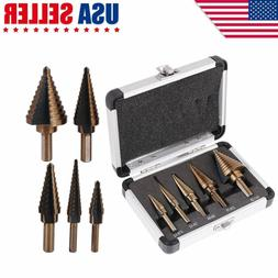 5pcs/Set HSS Large Cobalt Hole Titanium Cone Step Drill Bit