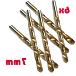 6x 7mm Round Shank HSS Titanium Coated Twist Drill Bits for