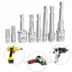 8PCS Socket Adapter Power Drill Bits Cordless Impact Hex Sha
