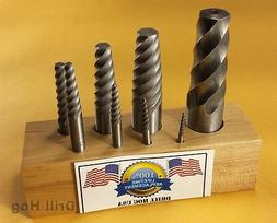 Drill Hog USA Spiral Easy Outs Set Round Screw Extractor Lif