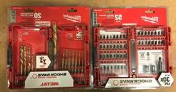 Mikwaukee Shockwave Drill Bits- 2 set lot- drill and impact