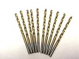 "PACK OF 10, 1/16"" TITANIUM COATED HSS DRILL BITS FOR WOOD, M"