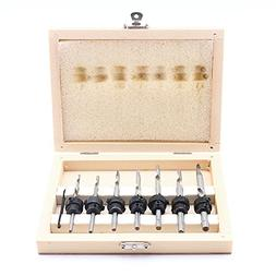 22PC Countersink Drill Bit Set W/Adjustable Depth Stop Colla