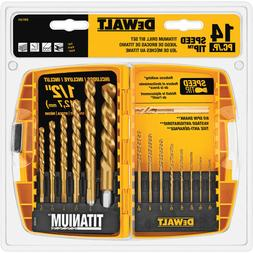 DEWALT DW1354 14Piece Titanium Drill Bit Set, New, Free Ship
