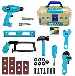 28-Piece Junior Handyman Pretend Play Toy Tool Box with Real