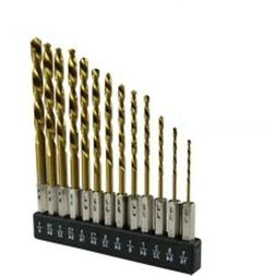 13pc Hex Shank Drill Bit Set w/ Holder HSS Titanium Coated Q
