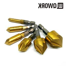 "QWORK 6 Pcs 1/4"" Hex Shank Titanium Coated 5 Flute Countersi"