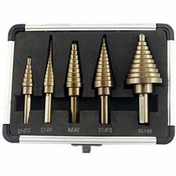 CO-Z 5pcs Hss Cobalt Multiple Hole 50 Sizes Step Drill Bit S