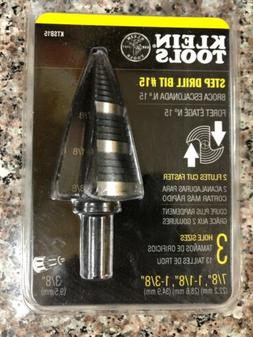 Klein Tools Step Drill Bit #15 Double Fluted 7/8 to 1-3/8-In