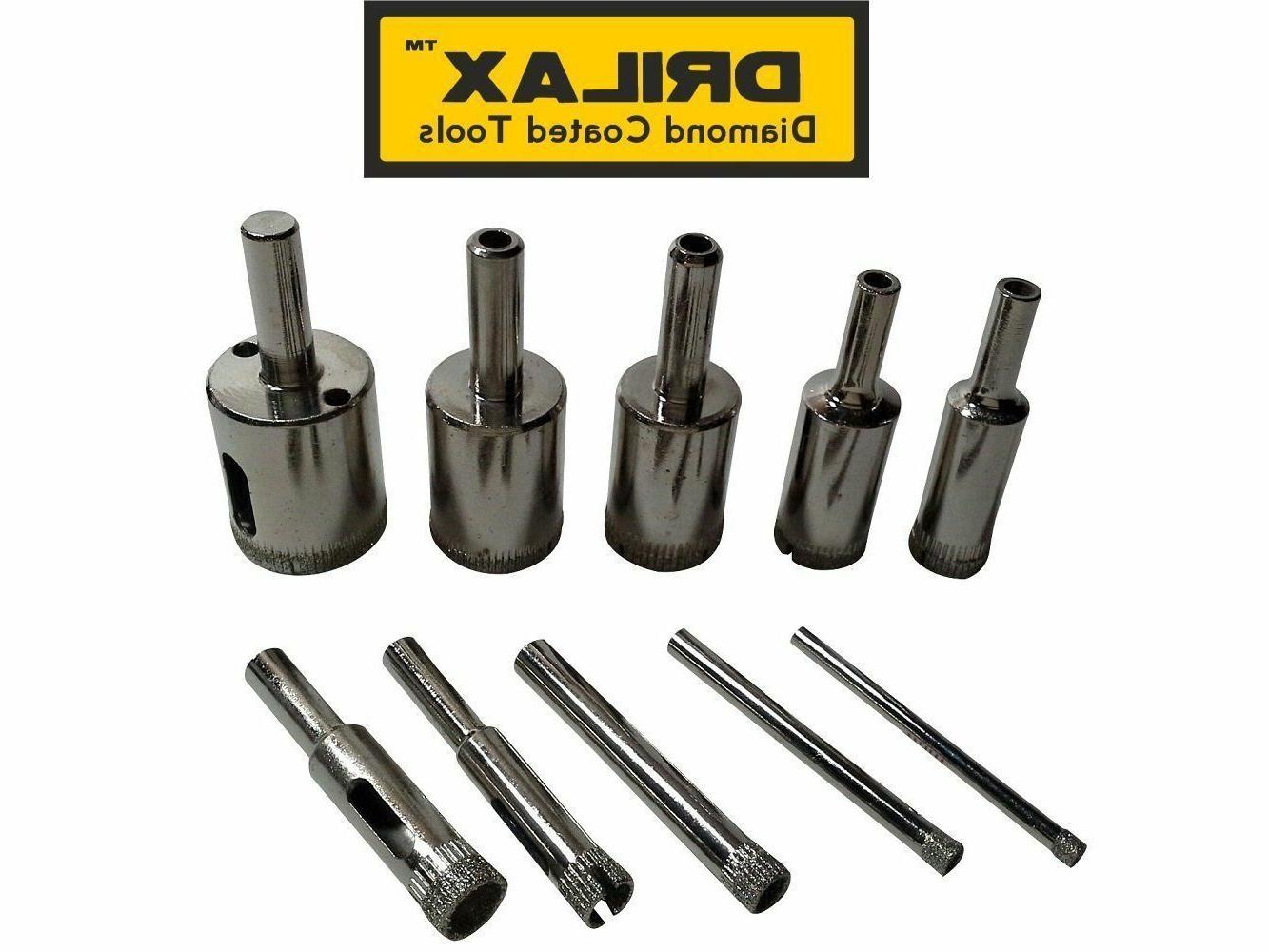 "Drilax 10 Pcs Diamond Drill Bit Set from 5/32"", 3/16"", 1/4"","