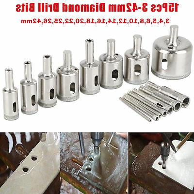 15PCS Core Hole Saw Drill Bit for Glass Marble