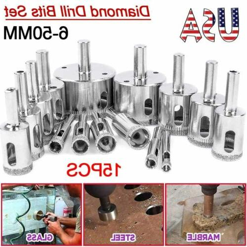15pcs set diamond hole saw drill bits