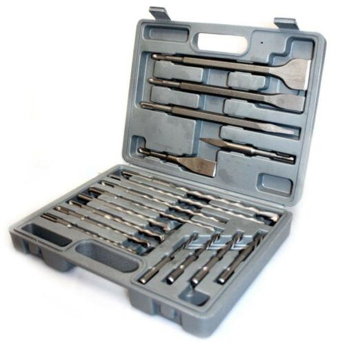 17 PC CONCRETE DRILL BITS & CHISEL SDS PLUS ROTARY HAMMER BI