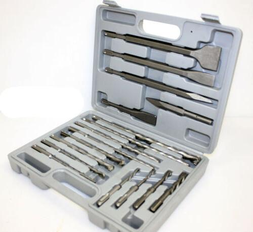 17pc Rotary Hammer Drill SDS+ Plus Bit Bits Chisel Set Concr