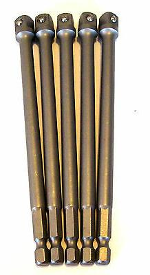 """5 GOLIATH INDUSTRIAL 6"""" POWER EXTENSION BARS 3/8"""" SCREW BITS"""
