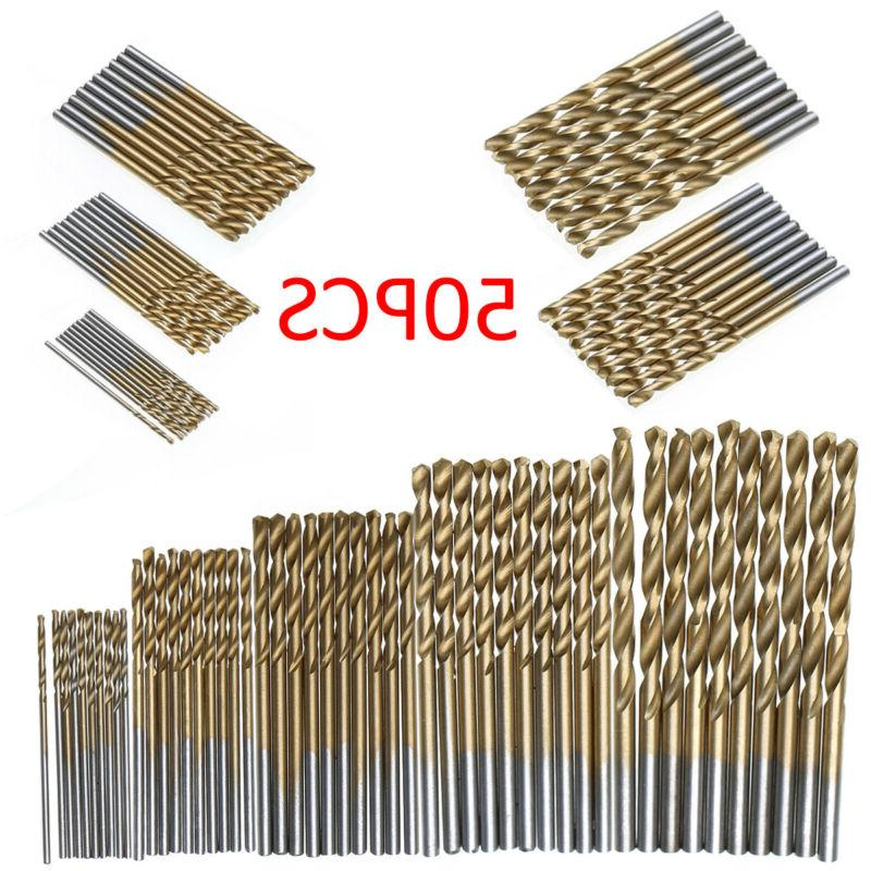 50Pcs Titanium Coated HSS High Speed Steel Drill Bit Set Too