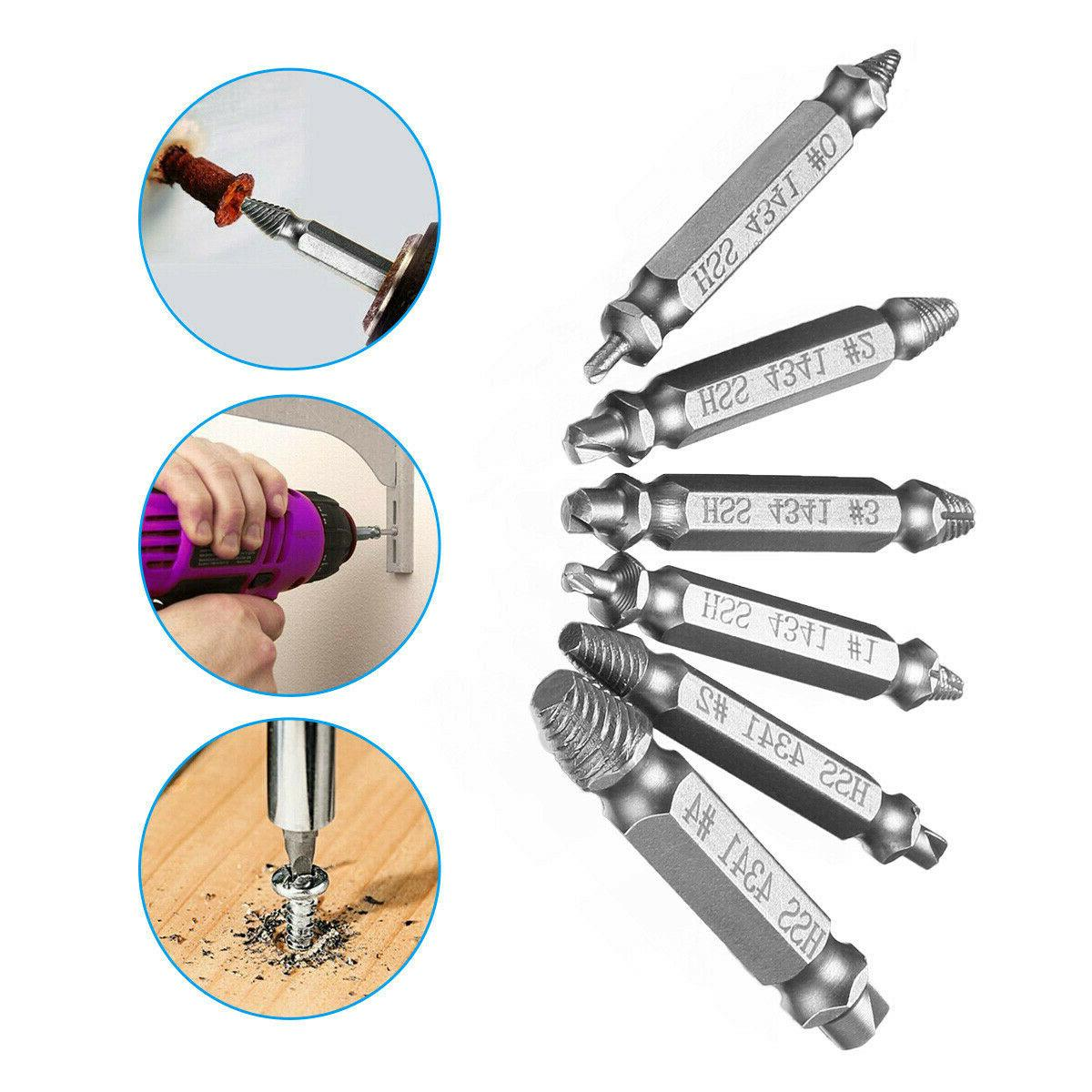 6PCS Broken Screw Remover Extractor Drill Bits Out Reverse