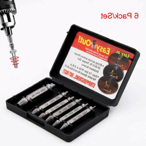 6pcs set screw extractor kit broken damaged