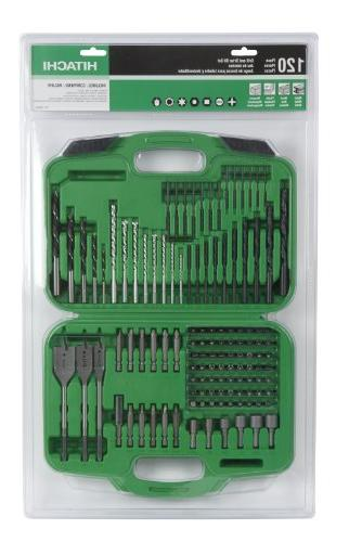 Hitachi 120 Piece Drill and Set, Spade, Nut Case