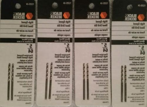 """Black and Decker 5/64"""" Drill Bits High Speed Steel 2 Pack US"""