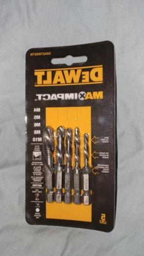 NEW DeWalt Max Impact 5pc Metric Drill Tap Combo Bit Set DWA