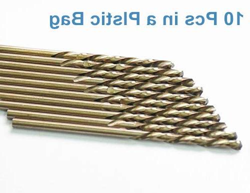 DrillForce 10pcs 9/64 x Cobalt Drill Speed Steel Twist Jobber Length, Round Can Steel, Ideal for general building engineeri